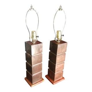 1940s Art Deco Copper Table Lamps - a Pair
