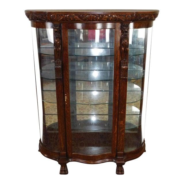 Antique Victorian Carved Figural Quartered Oak Curved Glass Curio Cabinet  c1900 - Antique Victorian Carved Figural Quartered Oak Curved Glass Curio