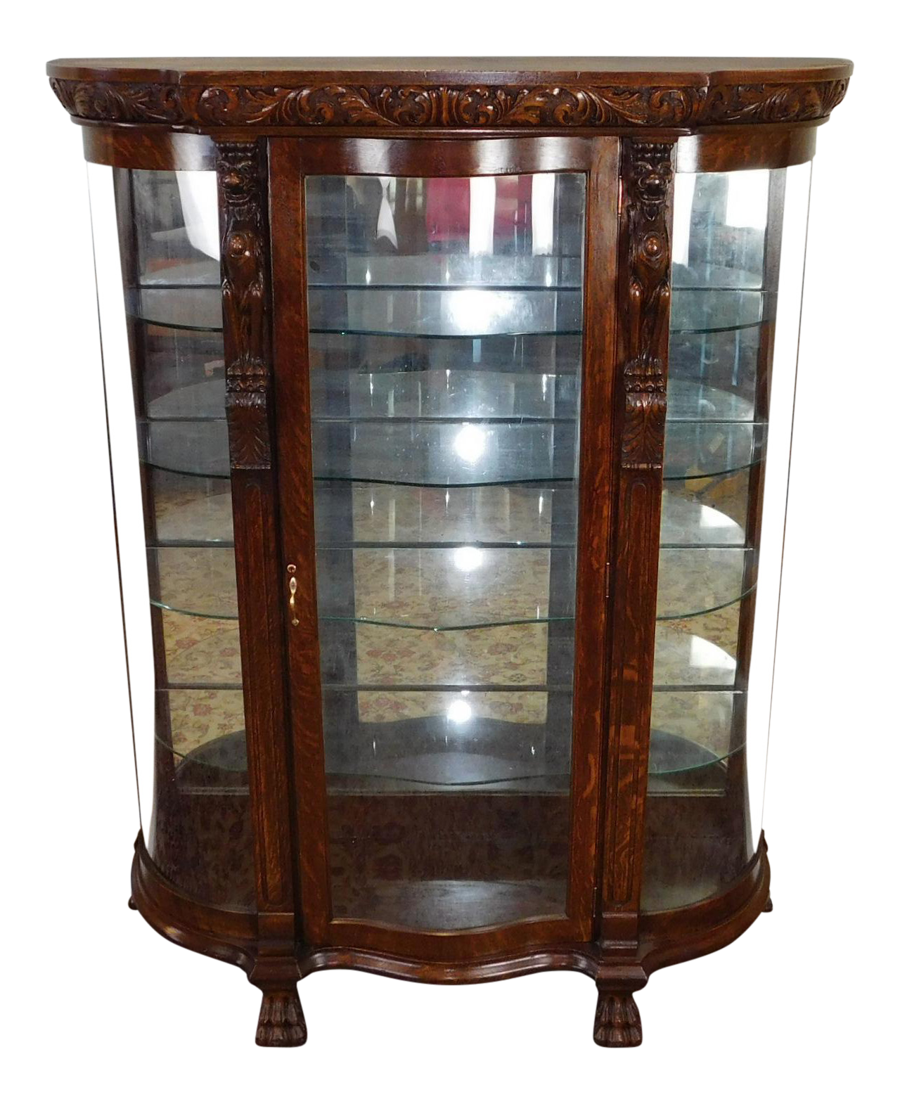 Charmant Antique Victorian Carved Figural Quartered Oak Curved Glass Curio Cabinet  C1900