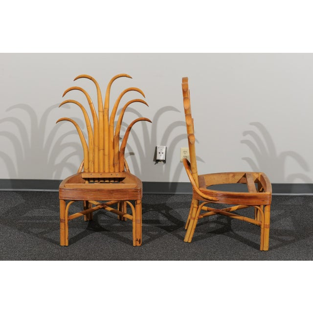 Caning Jaw-Dropping Set of 8 Custom Made Palm Frond Dining Chairs, Circa 1950 For Sale - Image 7 of 13