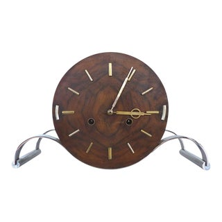 French Art Deco Clock in Wood and Nickel For Sale