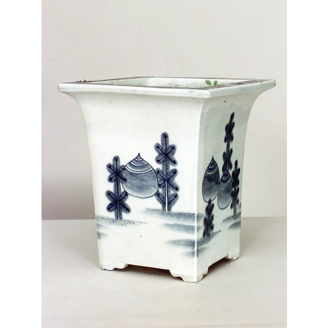 Pair of Asian Chinese style (19/20th Cent) square blue and white porcelain cachepot