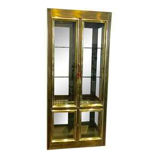 Mastercraft Brass and Glass Curio Cabinet For Sale