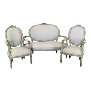French Louis XVI Belle Epoque Parlor or Salon Set - a Set For Sale