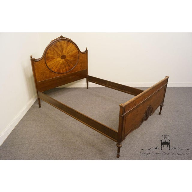 Walnut 20th Century French Berkey & Gay Burled Walnut Full Size Bed For Sale - Image 7 of 13