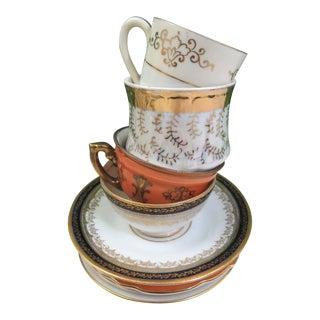 Vintage Mismatched China Demitasse Cups & Saucers, Set of 4 For Sale