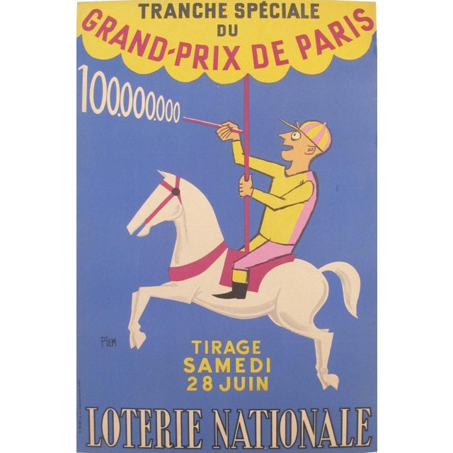 1958 French Loterie Nationale Poster Grand Prix Jockey and Carousel by Piem - Image 1 of 3