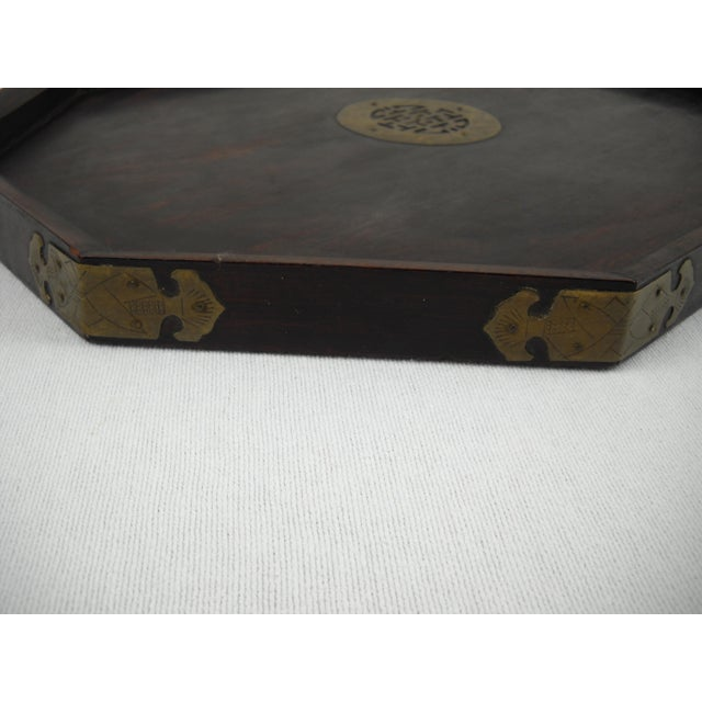 Asian Wood and Brass Serving Tray - Image 7 of 8