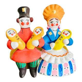 Vintage Russian Dymkovo/ Vyatka/ Kirov Toy Family For Sale