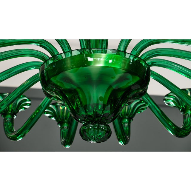 Emerald Green Murano Glass Chandelier For Sale - Image 9 of 10