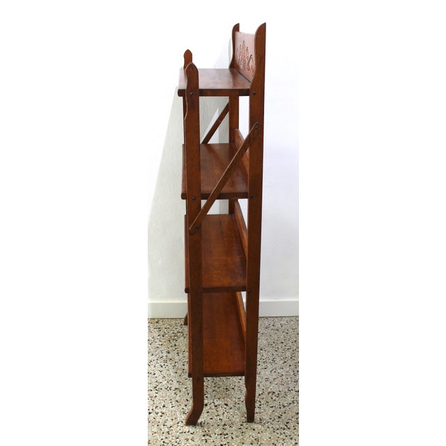 Antique Victorian Folding Bookcase in Incised Oak For Sale In West Palm - Image 6 of 13