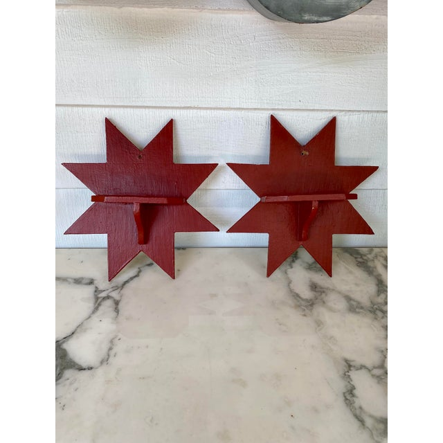 Ruby Red Antique Farmhouse Star Wall Brackets - a Pair For Sale - Image 8 of 8