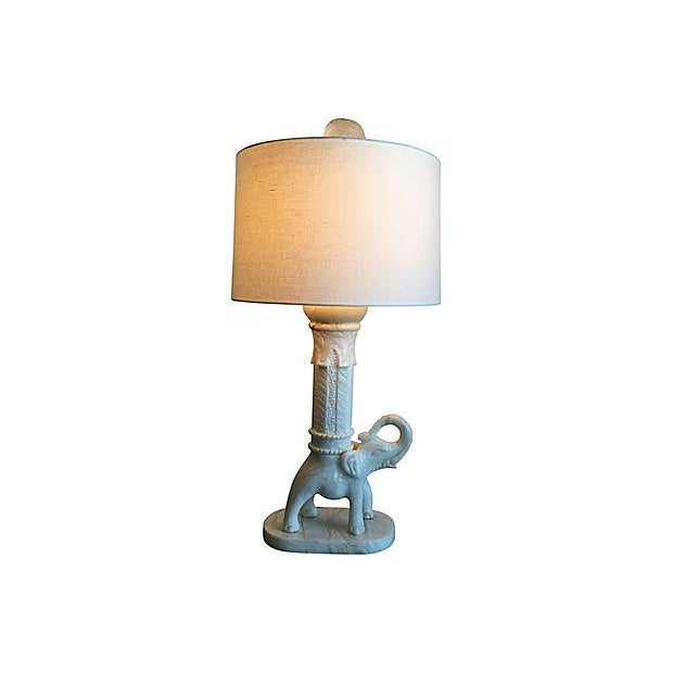 Oversize Marble Elephant Lamp & Shade For Sale - Image 4 of 9