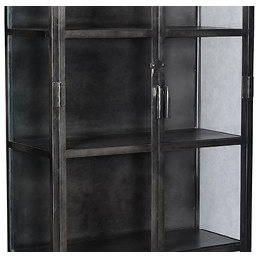 Industrial black iron and glass display cabinet. This is a unique piece for displaying dishes, pottery, books, or whatever...