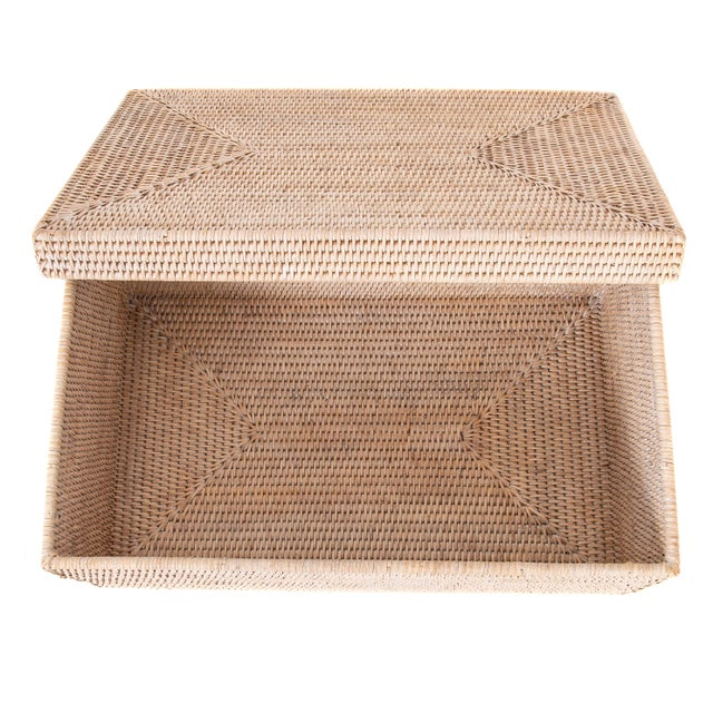 2010s Artifacts Rattan Rectangular Storage Box With Lid For Sale - Image 5 of 6