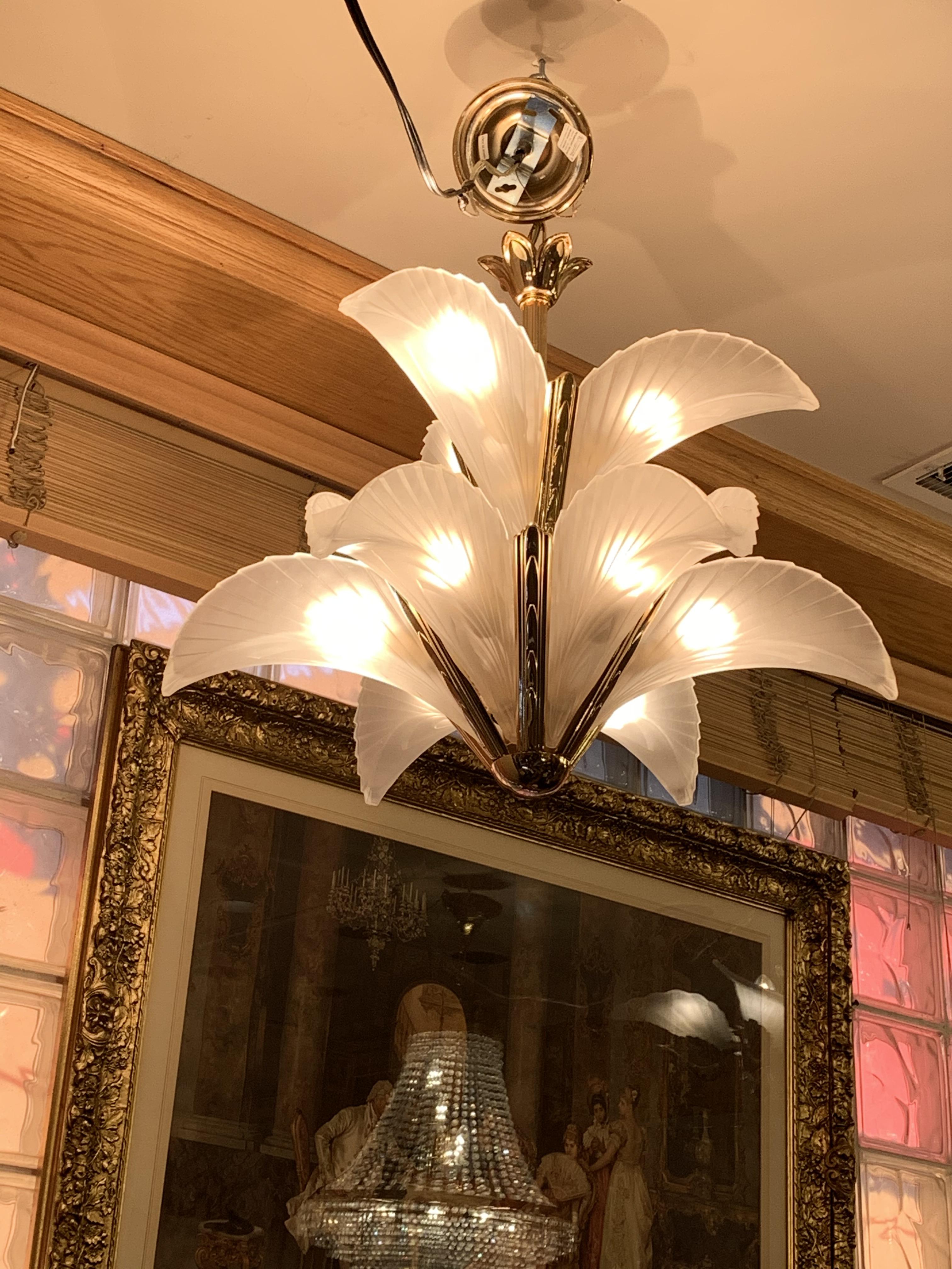 Art Deco Italian Murano Glass and Brass Palm Tree Leaf Two Tier Chandelier