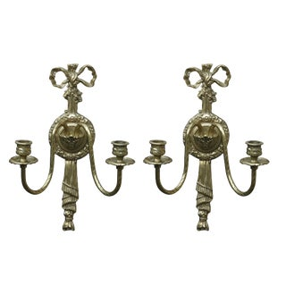Georgian Style Brass Candelabra Sconces by Glo-Mar Art Works Inc - A Pair