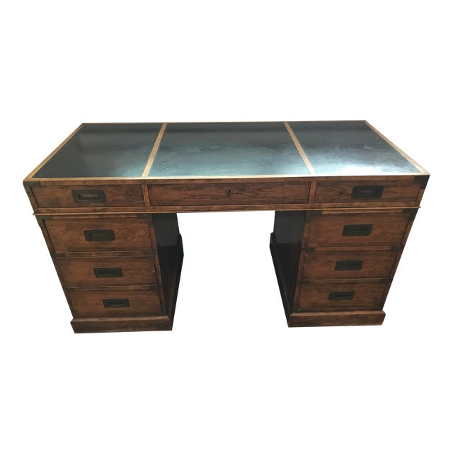 Vintage Baker Furniture Walnut Campaign Style Partner Desk For Sale