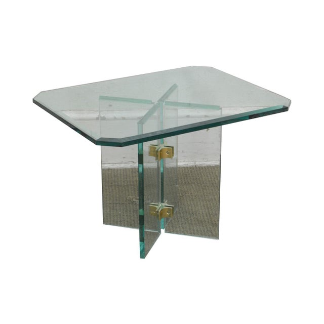 Leon Rosen for Pace Modern Glass Brass Side Table For Sale - Image 13 of 13