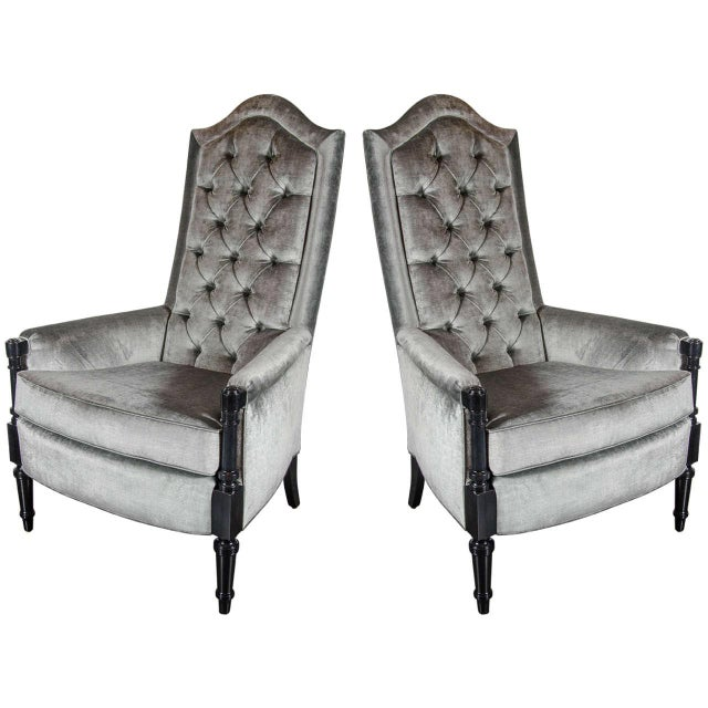 Black Pair of Mid-Century Modernist Occasional Chairs in the Manner of James Mont For Sale - Image 8 of 8