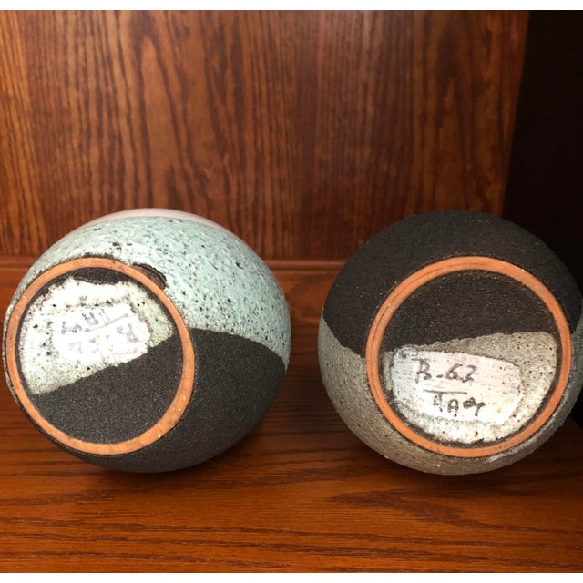 White Vintage Ettore Sottsass Bitossi Pottery Volcanic Glaze Raymor Vase - a Pair For Sale - Image 8 of 12