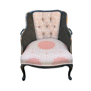 1950s Louis XV Style Semi Upholstered Bergere Chair