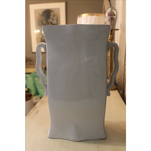 Gray Pair of Tall ( Two) Ceramic Vases For Sale - Image 8 of 8