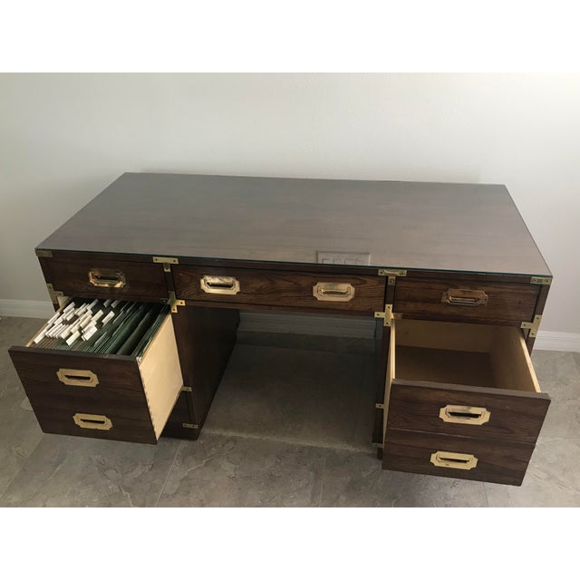1960s 1960s Campaign Bernhardt Partner's Desk and Mirror - 2 Pieces For Sale - Image 5 of 12