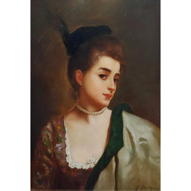 Gustave Jean Jacquet -Portrait of a Young Lady wearing a feather Hat - 19th century Oil painting oil painting on board...