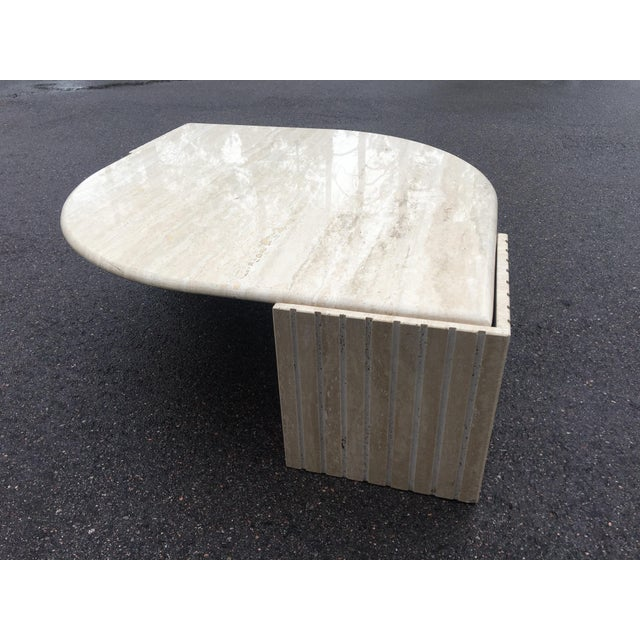 1980's Brutalist Travertine Marble Coffee Table For Sale - Image 4 of 12