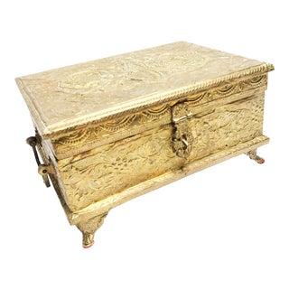 Large Vintage Mid-Century Ornate Brass Rectangular Footed Casket Box For Sale