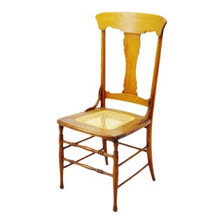 Early Oak Cane Seat Splat Back Accent Chair For Sale