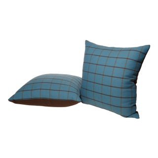 Teal and Brown Windowpane Pillows- A Pair For Sale