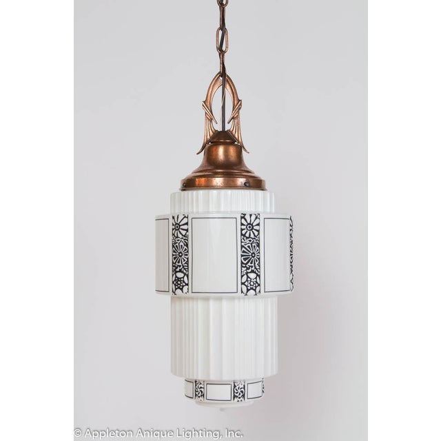 Black Restored Art Deco Milk Glass Pendant With Copper Fixture For Sale - Image 8 of 8