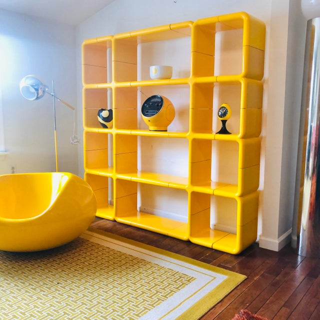 Spectacular large scale 25 piece Space Age modular UMBO plastic shelving system in rare lemon yellow. Designed by Kay...