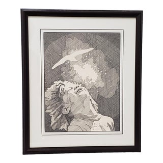 "Andres Desjardins ""Childlike Wonder"" Original Pen and Ink Drawing C.1976 For Sale"