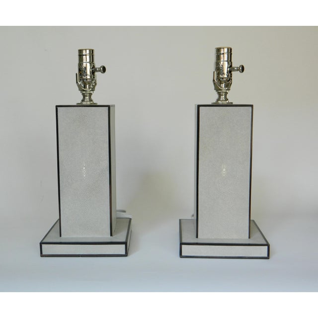 Animal Skin Grey Shagreen Table Lamps - a Pair For Sale - Image 7 of 8