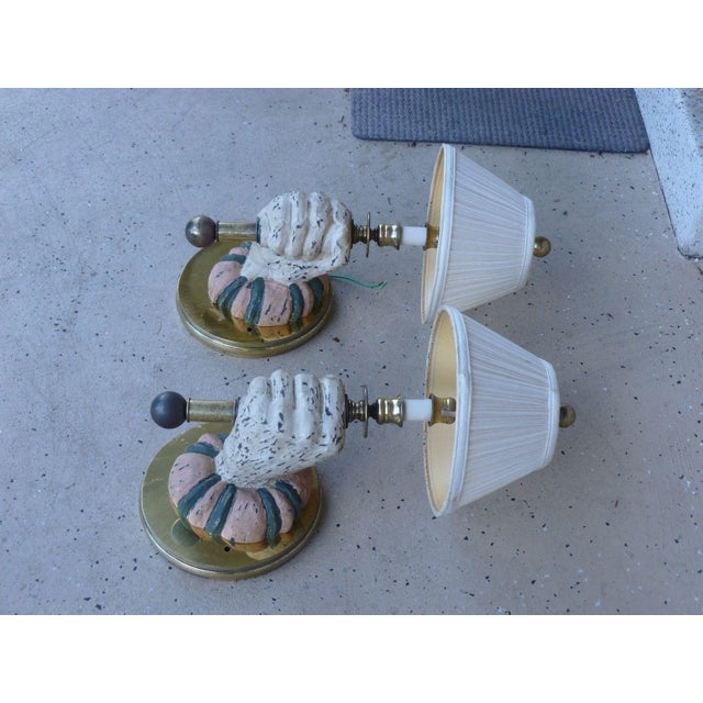 1970s Mid-Century Modern Carved Wood Sconces - a Pair For Sale In Miami - Image 6 of 7