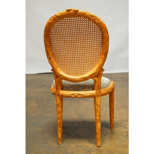 Vintage Italian Faux Bois Dining Chairs - Set of 4 - Image 5 of 8