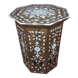 Syrian Vintage Inlaid Octagon Taburet Side Table For Sale
