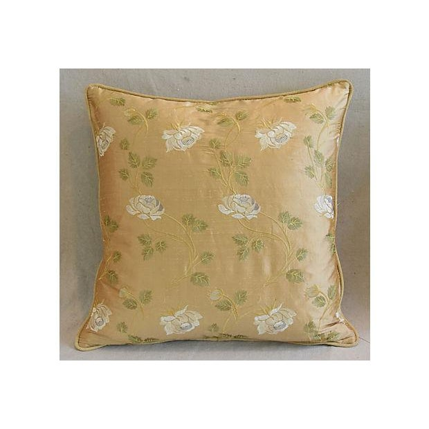 Pair of large custom-tailored pillows created from vintage/never used designer cotton and silk blended fabric from England...