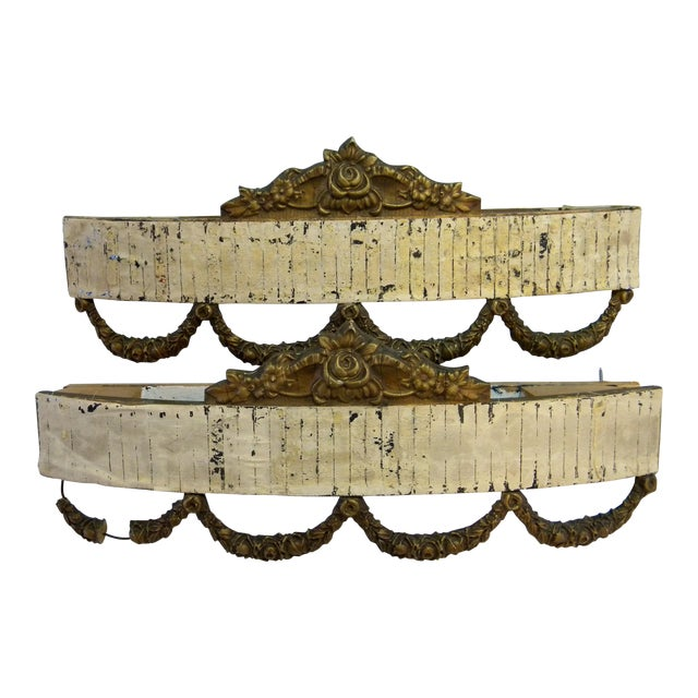 Antique Bed Corona Headboards - A Pair - Image 1 of 6