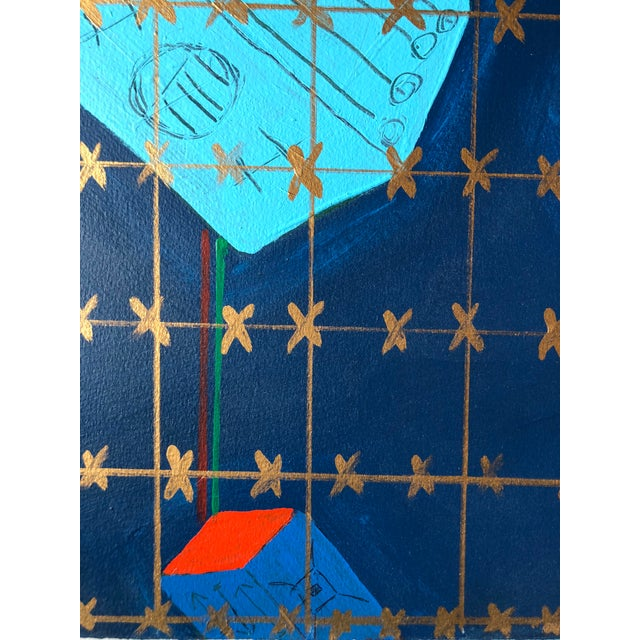 """1980s Frances Schifflette Hicks Abstract """"Floating Cubes"""" 1980s San Francisco Women Artists For Sale - Image 5 of 8"""