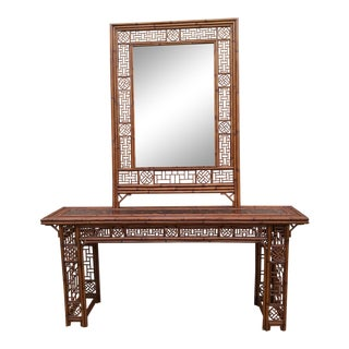 Brighton Pavillion Style Chinoiserie Chinese Chippendale Fretwork Console and Mirror Set For Sale