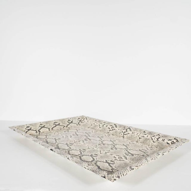 Modernist Rectangular Shadow Box Design Faux Python Tray For Sale - Image 4 of 9