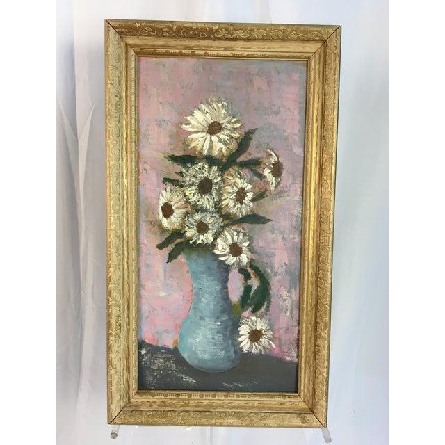 Vintage Floral Soft Pastels Oil Painting For Sale - Image 11 of 11