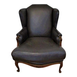 "Leather Chair - Wingback Carved Mahogany Very ""Ralph Lauren"" Made in Usa"