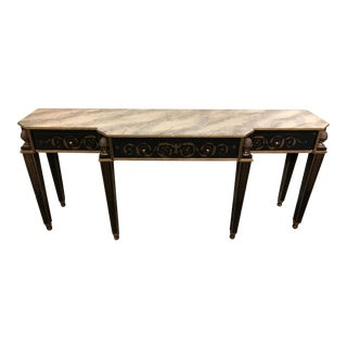 Traditional Custom Made 3 Drawer Console Table For Sale