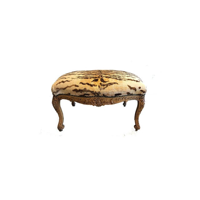 Early 20th Century Vintage Tiger Velvet Ottoman For Sale - Image 5 of 5