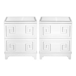 Worlds Away Pagoda 2 Drawer Greek Key Nightstands In White Lacquer with Mirrored Tops – A Pair